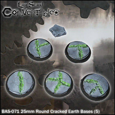 LAST STAND CONVERTIBLES BITS CRACKED EARTH BASES - 5x 25mm ROUND