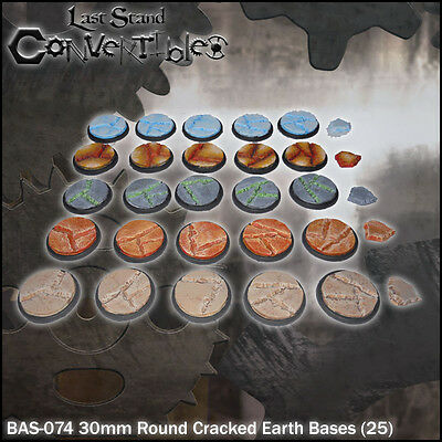 LAST STAND CONVERTIBLES BITS CRACKED EARTH BASES - 25x 30mm ROUND