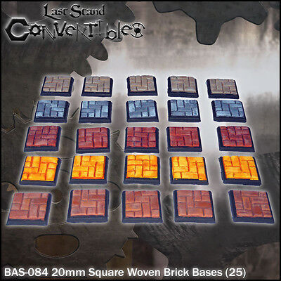 LAST STAND CONVERTIBLES BITS WOVEN BRICK BASES - 25x 20mm SQUARE