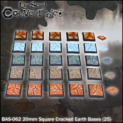 LAST STAND CONVERTIBLES BITS CRACKED EARTH BASES - 25x 20mm SQUARE