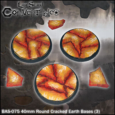 LAST STAND CONVERTIBLES BITS CRACKED EARTH BASES - 3x 40mm ROUND
