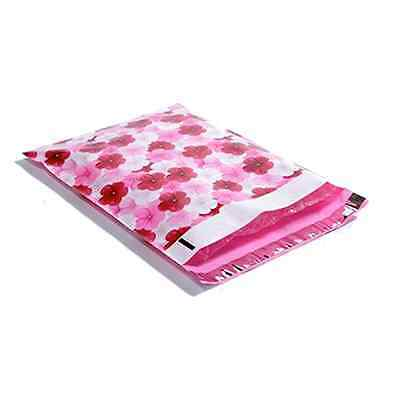 25 10x13 Pink Hibiscus Designer Mailers Poly Shipping Envelopes Boutique Bags