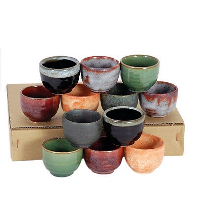 12 PCS. Japanese Sake Cup Set Ceramic Assorted Color Designs /Made in Japan