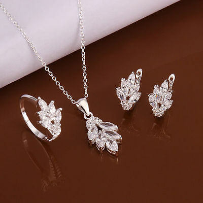 wholesale fashion lady Jewelry 925sterling silver ring necklace earrings set+box