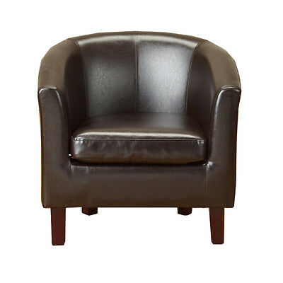 New Brown Faux Leather PU Tub Chair Armchair Dining Room Office Lounge Furniture