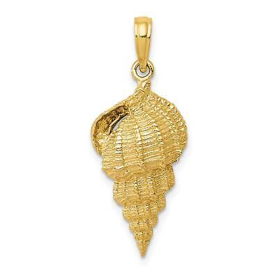 14k Yellow Gold Conch Shell Casted Polished Pendant 30mmx11mm
