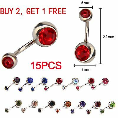 15Pcs Surgical Crystal Belly Bars Jewellery Navel Button Ring Gem Body Piercing