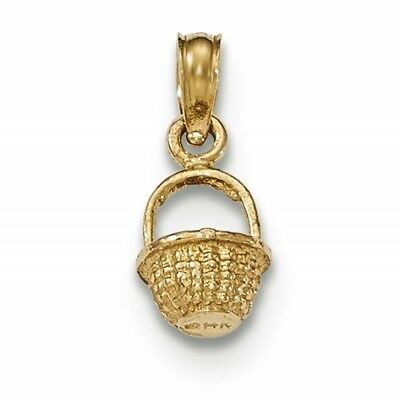 14k Yellow Gold Polished And Textured 3-D Mini Basket Charm Pendant