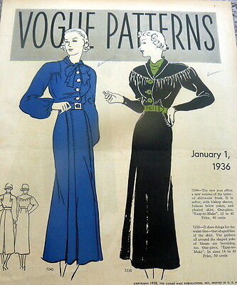 RARE VTG 1930s VOGUE SEWING PATTERN CATALOG 1936