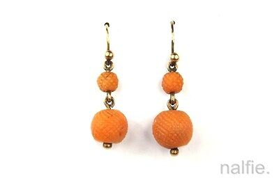 ANTIQUE EARLY VICTORIAN 9K GOLD CORAL ORB / BEAD DROP EARRINGS c1830s