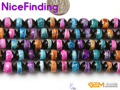 """8mm Round Faceted Fire Agate Gemstone Loose Beads For Jewelry Making Strand 15"""""""