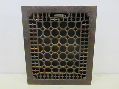 "Vintage Cast Iron Honeycomb Floor Grate with Damper 14"" x 12"" ASG#8"