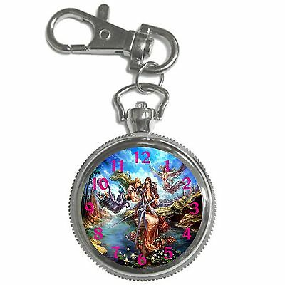 Angels Silver Key Ring Chain Pocket Watch