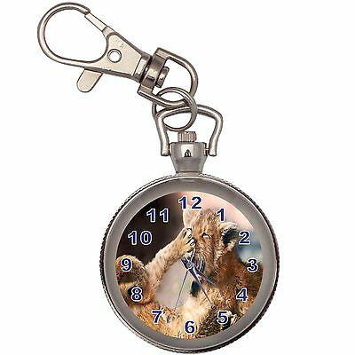 Two Small Lions Silver Key Ring Chain Pocket Watch