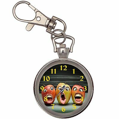 Apples With Faces Silver Key Ring Chain Pocket Watch