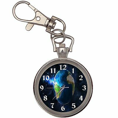 Earth Silver Key Ring Chain Pocket Watch