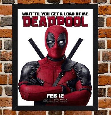 Framed Deadpool Movie Poster A4 / A3 Size Mounted In Black / White Frame (Ref-6)