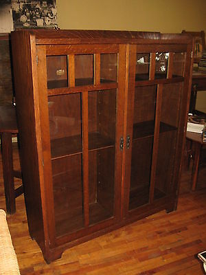 Mission Oak Lifetime Divided 2 Door Bookcase Book Shelf Arts & Crafts Adjustable