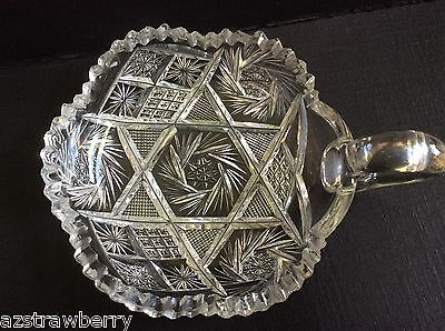 "VTG AMERICAN BRILLIANT CLEAR CRYSTAL CUT GLASS HANDLED NAPPY DISH 5"" pinwheel"