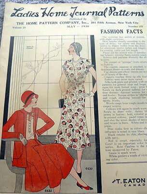 RARE VTG 1930s LADIES HOME JOURNAL SEWING PATTERN CATALOG 1930