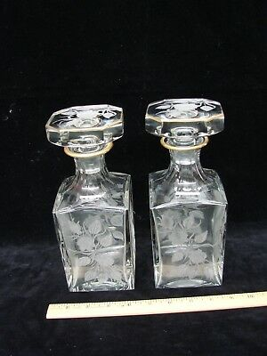 Fine Pair of Antique Etched Glass Decanters ~ Exceptional Quality~ Gold Trimmed