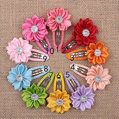 NT 10pcs Girls Kids Baby Mini Hair Clips Rose Flower Crystal hairpins Hair Wear