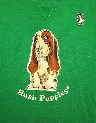 HUSH PUPPIES vtg crewneck youth small Basset Hound footwear sweatshirt 1970s toy