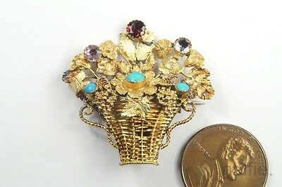 ANTIQUE REGENCY 15K GOLD GARNET & TURQUOISE ROSE GIARDINETTO BROOCH c1820