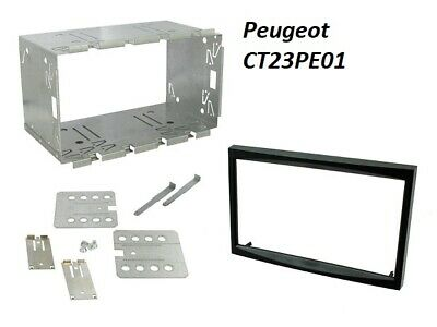 CT23PE01A PEUGEOT 307 2001 to 2008 BLACK DOUBLE DIN FASCIA ADAPTER FITTING KIT