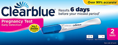 2 x Clearblue 6 Days Early Detection Pregnancy Tests Testing Stick Kits