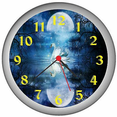 Swan In The Moonlight Room Decor Wall Clock