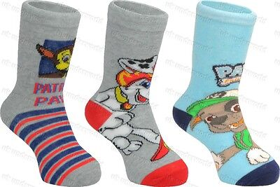 3 Pairs Childrens Boys Paw Patrol Character Ankle Socks Marshall Chase Rocky