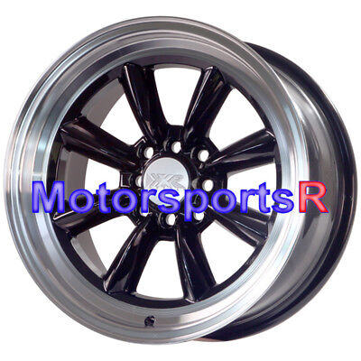 XXR 537  Black 16 x 8 +20 Wheels Rims Deep Lip 4x100 95 02 Honda Civic SI Stance