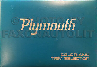 1970 Plymouth Color and Upholstery Dealer Album Cuda GTX Belvedere Satellite Etc