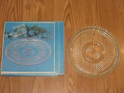 Indiana Glass Diamond Point 12 inch Serving Platter Hostess Plate 0161 in box