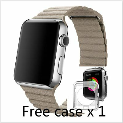Beige Leather Watch band strap Magnetic Buckle for Apple Watch 38mm