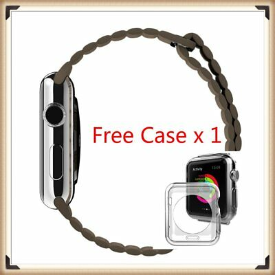 Brown Leather Watch band strap Magnetic Buckle for Apple Watch 38mm