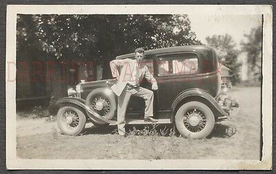 Vintage Car Photo Proud Owner Man Posing on 1931 Chevrolet Chevy 657753