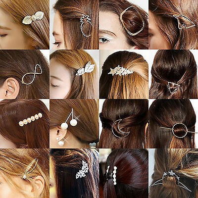 Women Girls Gold Silver Geometry Triangle Hairpin Hair Clip Hair Accessories NT