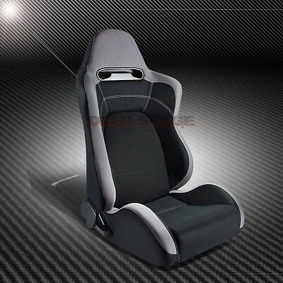 2X Type-R Gray Black Cloth Sports Style Racing Seats+Mounting Sliders Right Side