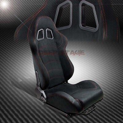Black Suede Reclinable Sport Style Racing Bucket Seat+Mounting Slider Right Side