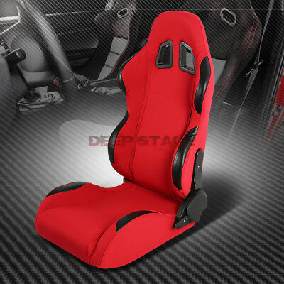 Red Cloth+Carbon Look Trim Sports Style Racing Seats+Mounting Sliders Right Side