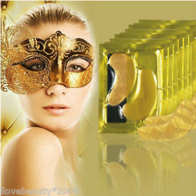 2Pcs Natural Crystal 24k Gold Gel Collagen Anti-Aging Wrinkle Circles Eye Mask