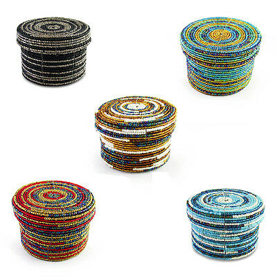 10x9cm Handmade Glass Beaded Trinket Box with Lid in Two Tone Design with Metall