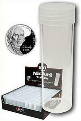 10 New BCW Round Clear Plastic Nickel Coin Storage Tubes with Screw On Caps