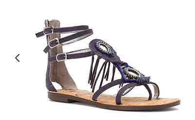 55151ec41c7b Sam Edelman Genesee Dark Blue Suede Oxide Leather Gladiator Sandal womens  6-10 !