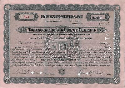 City of Chicago Tax Anticipation Warrant 1933