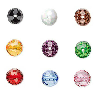 Lot of 100 Plastic Acrylic Faceted Round Loose Beads Small - Big in Many Colors
