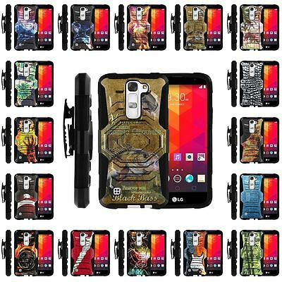 For LG Tribute 5 | Holster Clip + Tempered Glass + Case Stand  Black