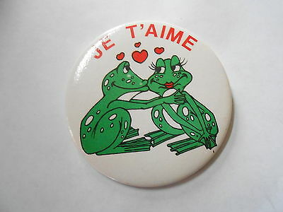 Vintage Je T'Aime / I Love You Kissing Frogs Pinback Button